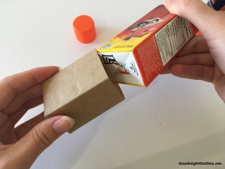 Carefully slide the bag off the juice box.